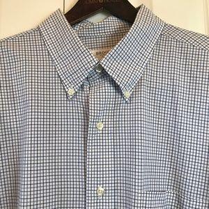 Brooks Brothers 346 Blue Check Dress Shirt sz 17.5